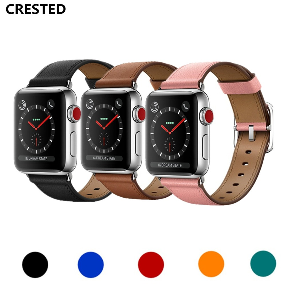 CRESTED Classic Buckle band for apple watch 3 leather band 42mm/38mm iwatch 3 2 1 wrist belt crazy horse leather bracelet strap crested crazy horse strap for apple watch band 42mm 38mm iwatch series 3 2 1 leather straps wrist bands watchband bracelet belt