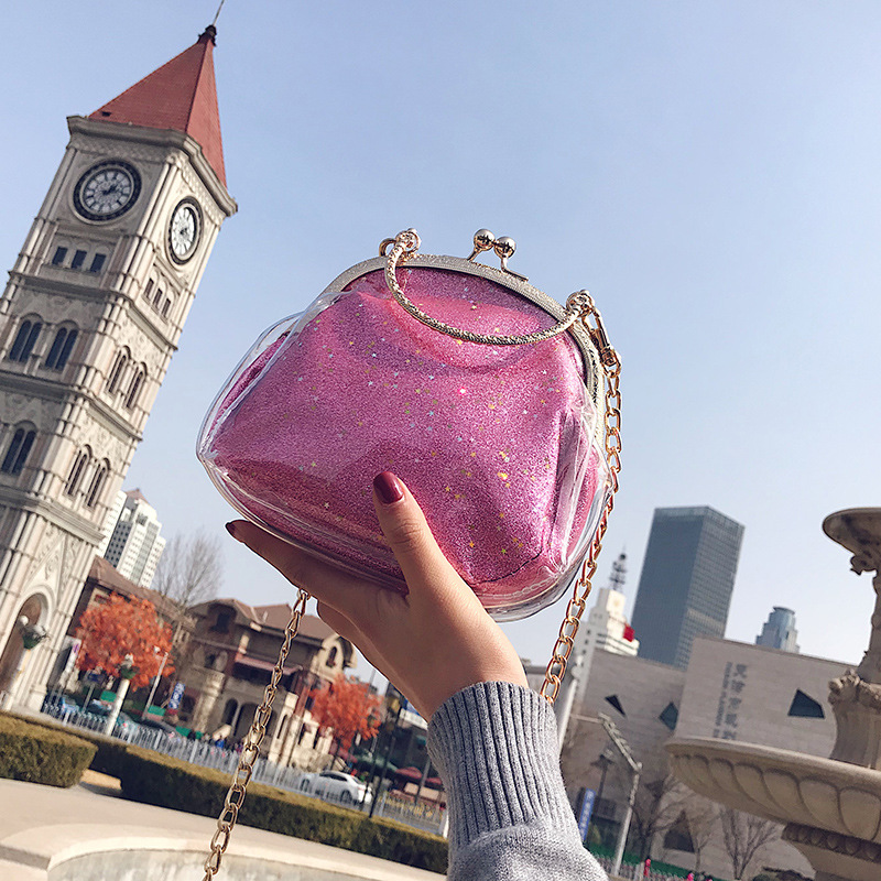 Free Shipping Clip Hasp Bag Sequined Tote Woman Fashion Shoulder Chain Bag Crossbody Purse Silver Gold Pink Red Black