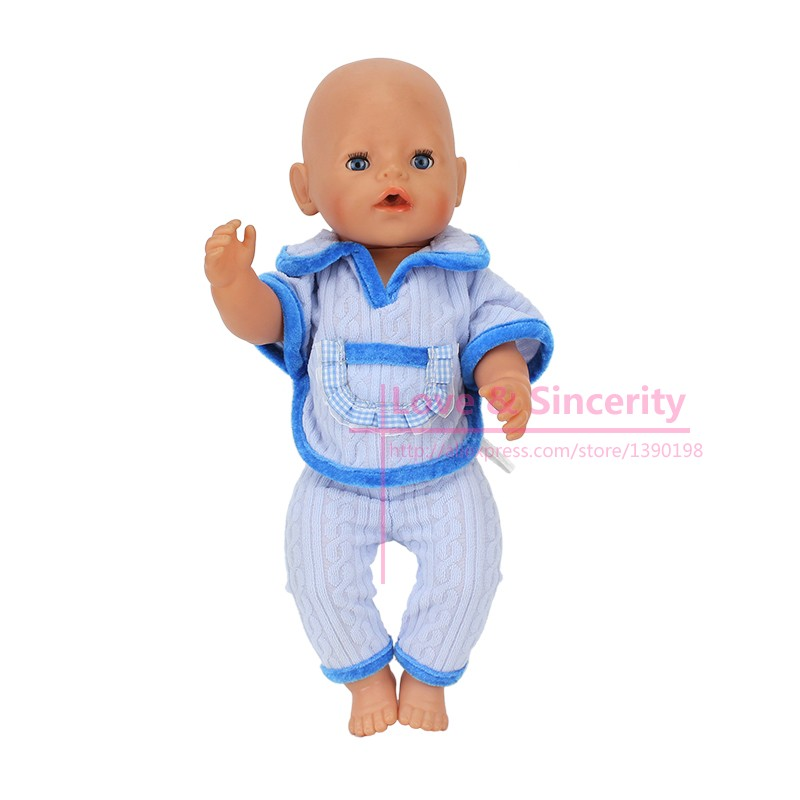 2pcs In1 Shirt Pants Fit For 43cm Zapf font b Doll b font 17 Inch Baby