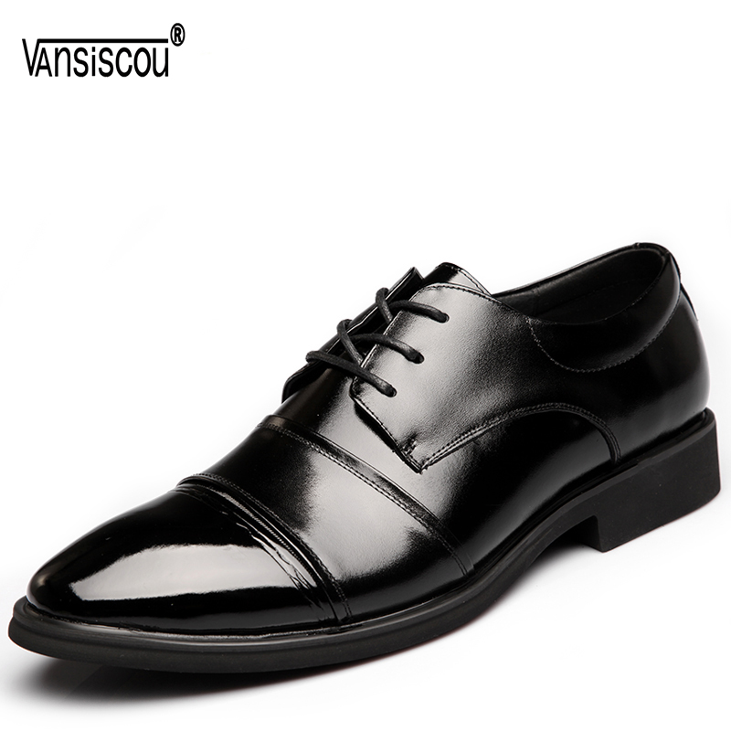 VANSISCOU Men Pump Business Casual Genuine Leather Shoes Painted Light Wedding Dress Formal Pointed Toe Lace Up Oxford Lazy Shoe pjcmg new fashion luxury comfortable handmade genuine leather lace up pointed toe oxford business casual dress men oxford shoes