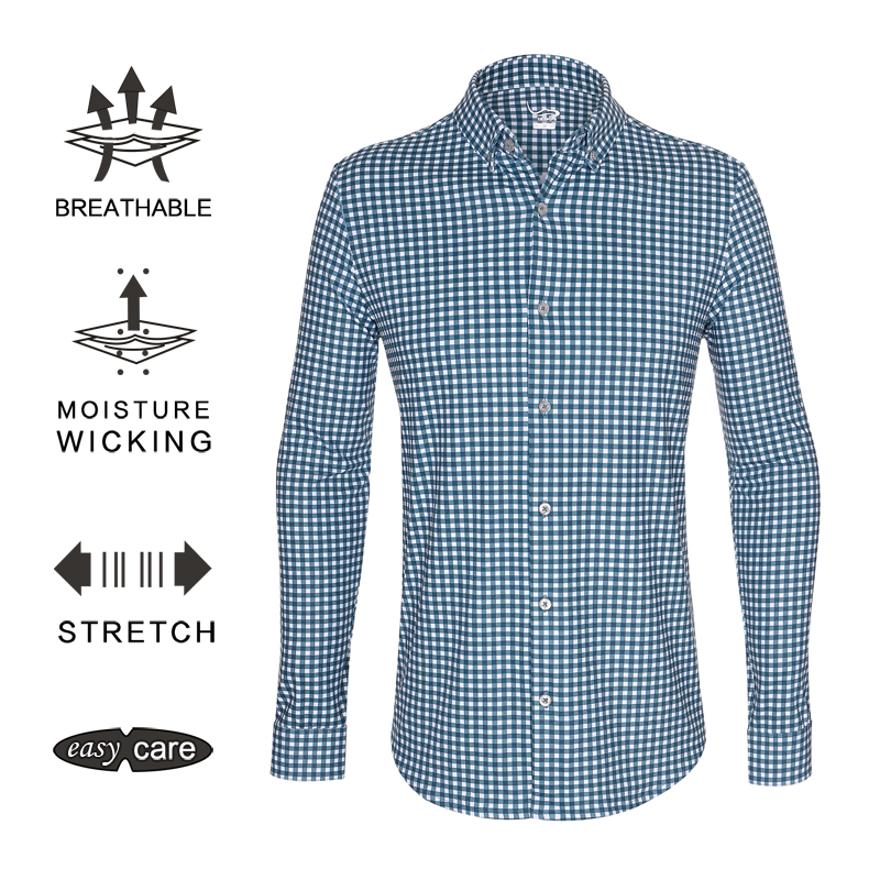 EAGEGOF Long sleeve shirt Mens Regular fit Business Social clothes Golf fabric plaid shirts Non iron