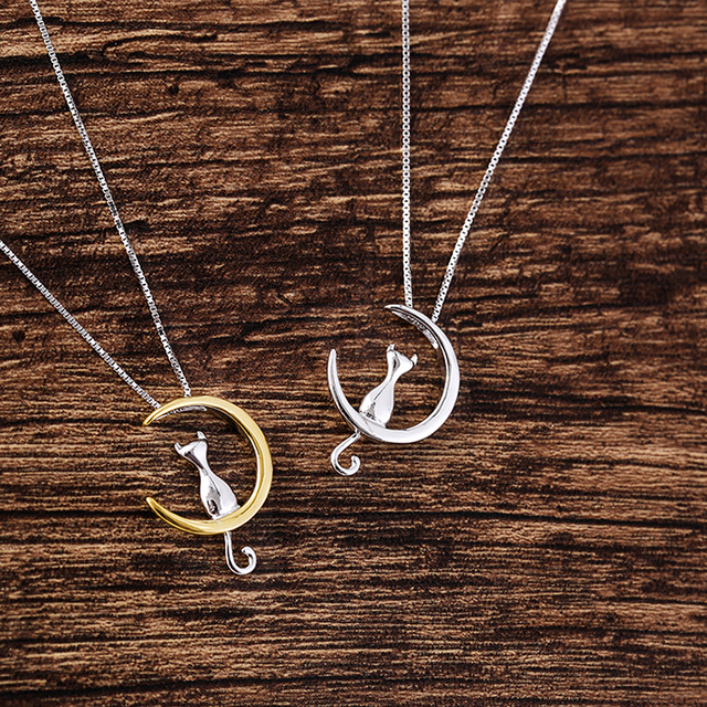 Silver or Gold Moon Lovely Cat Necklaces Pendant