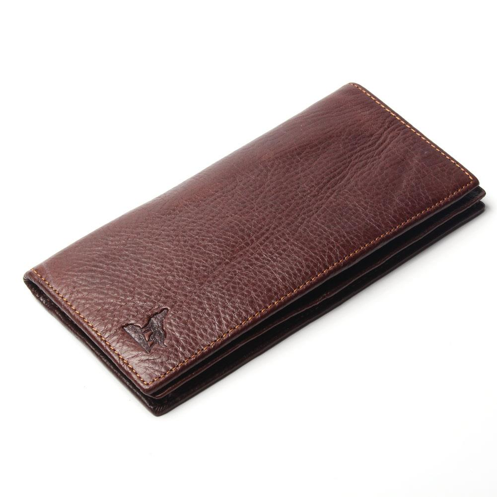 100% Genuine Leather Vintage Mens Wolf Style Wallet Long-Section Head Cowhide Pattern Male Purse Big Capacity For Men