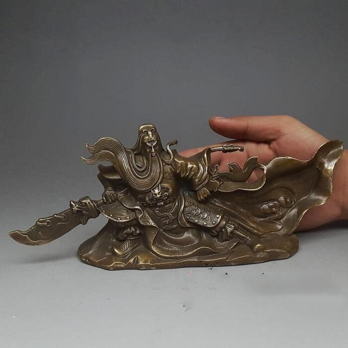 Artigianato statua di Guan Gong Feng Shui Decorazione Hengdao Guangong statua di bronzoArtigianato statua di Guan Gong Feng Shui Decorazione Hengdao Guangong statua di bronzo