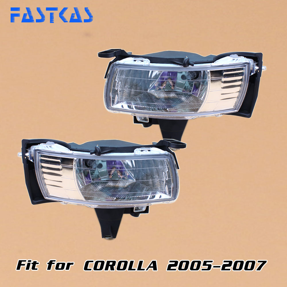 Car Fog Light for Toyota Corolla 2005 2006 2007 Left & Right Fog Lamp bumper light with Switch Harness Covers Fog Lamp Kit 1set front chrome housing clear lens driving bumper fog light lamp grille cover switch line kit for 2007 2009 toyota camry