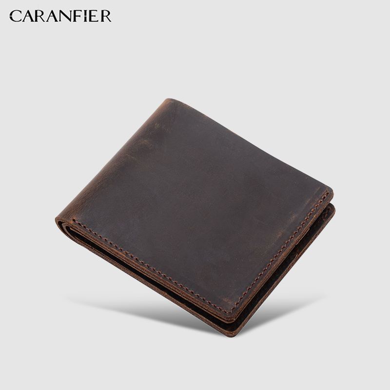 CARANFIER Mens Wallets Crazy Horse Cowhide Leather Top Quality Vintage Male Wallet Classic Women Purses Unisex Credit Card Bags