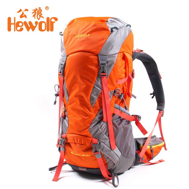 ФОТО Hewolf men and women travel bags outdoor backpack hiking camping mountaineering bags fishing hunting backpack 50L