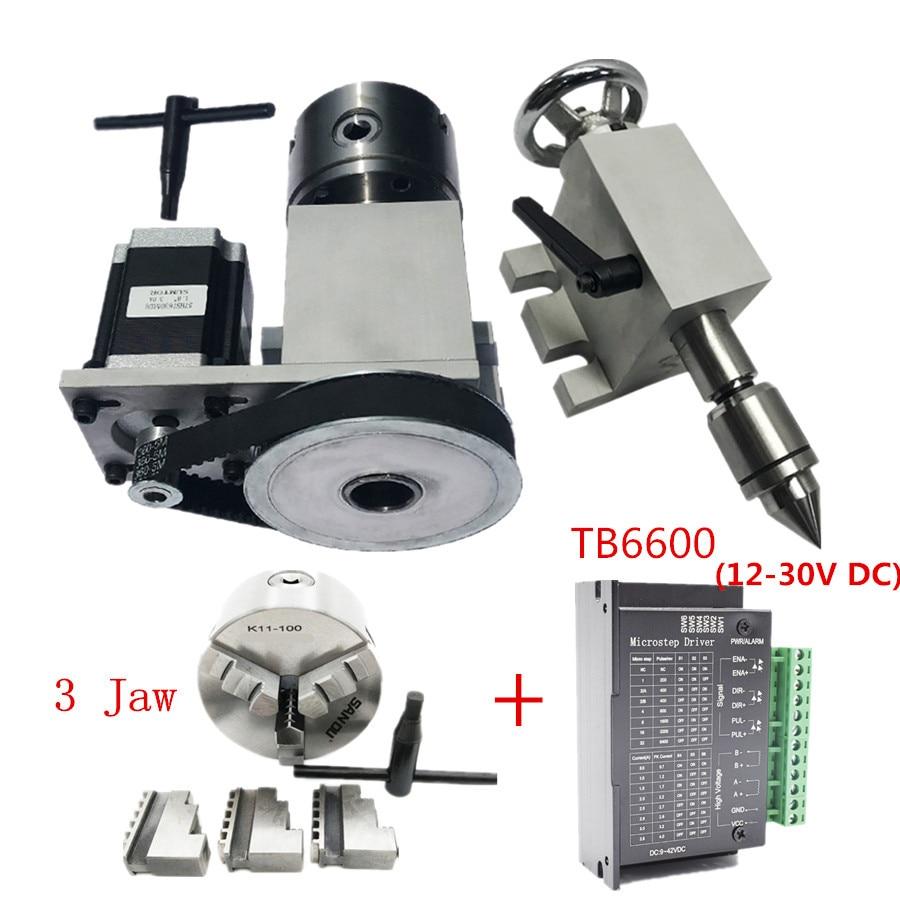 """CNC 4th ロータリー軸 K11 3Jaw チャック 100 ミリメートル/4 """"のためのミニ CNC ルータ木工ドライバ分割ヘッド + MT2 テールストック + TB6600  グループ上の ツール からの チャック の中 1"""