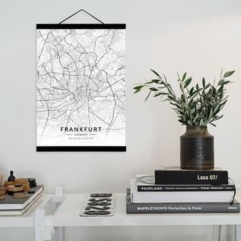 Frankfurt, Alemania Mapa de la Ciudad de Madera enmarcado lienzo pintura casa decoración de pared arte, Poster de pintura para colgar