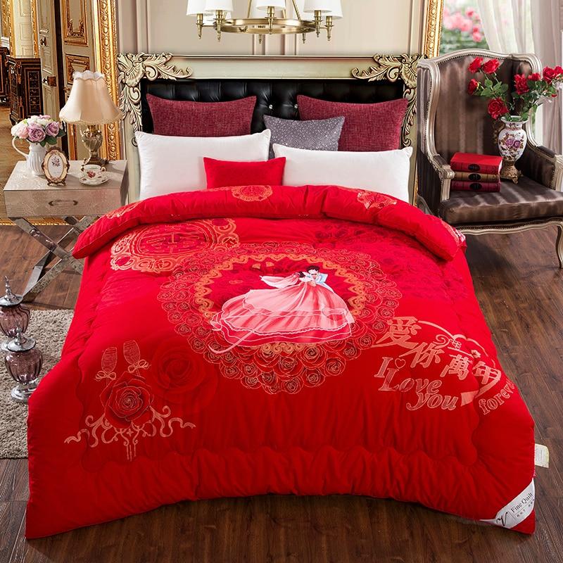 Зимние Теплые Красные Свадебные одеяло Пододеяльники Queen king size мягкая Постельные принадлежности пододеяльник наполнитель стеганого Пледы