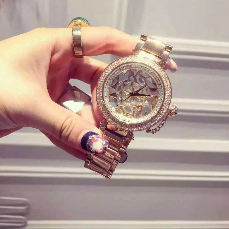 ФОТО 2016 brand Diamond rose gold women rhinestone watch female steel women quartz bling dress watch for ladies bracelet reloj mujer