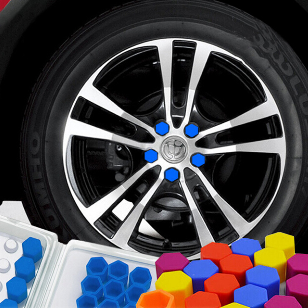 free shipping 20pcs/set 21/19/17mm 5 color <font><b>Silicone</b></font> Hexagonal <font><b>Car</b></font> <font><b>Wheel</b></font> Lug <font><b>Nut</b></font> Bolt <font><b>Cover</b></font> Tyre Valve Screw Cap Antirust image