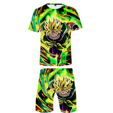 Hot Brand Man Fashion T Shirt Sets Dragon Ball shirt and shorts Summer Super Broly Cartoon 3D Print Boy Cool Stes