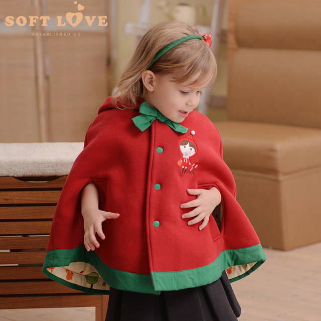 bc0e4b9db921 children s winter jackets Girls cloak baby cape thick red winter ...