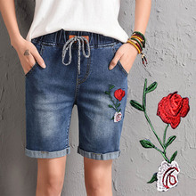 NiceMix 2019 summer Elastic waist hole denim women short trousers female loose casual shorts embroidered flowers jeans