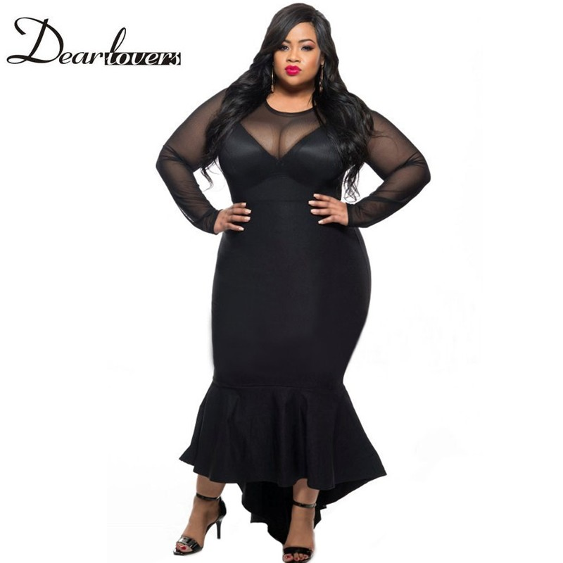 Dear Lovers Plus Size Women Clothing 2017 Black Red Long -1533