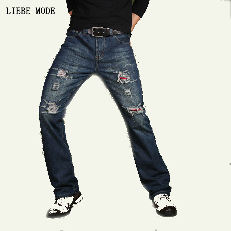 2017 Mens Flared Jeans Boot Cut Denim Pants Fashion Ripped Jeans For Men Spring Autumn Bottoms Plus Size 38