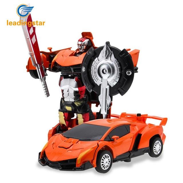 Leadingstar Satu Tombol Deformasi Kereta Robot Plastik Bayi Mainan