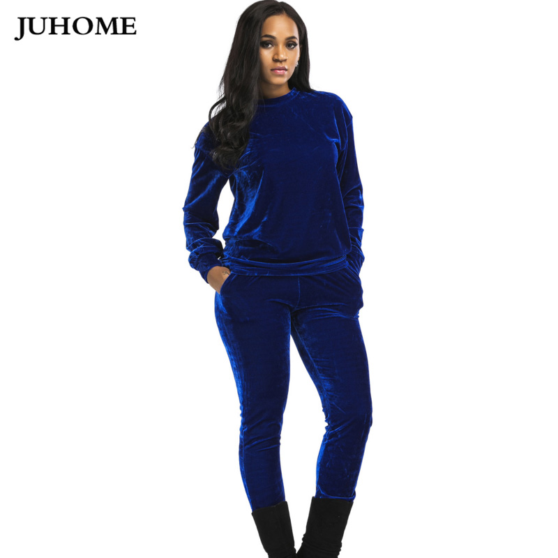 51a04c6918d Aliexpress.com   Buy 2018 high quality thick Velvet women set plus size  loose Long Sleeve Top And Pants tracksuit Runway Fashion TWO Piece  Jumpsuits from ...