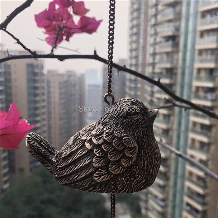 En laiton moulé oiseau vent carillons Vintage Bronze métal cuivre vent cloche vent carillons mur extérieur cour jardin porche suspendu décor rétro
