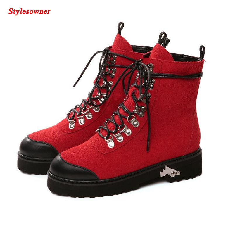 Stylesowner 2017 Autumn Winter Runway Suede Leather Martin Boots Woman Round Toe Rivet Lace Up Thick Bottom Ankle Boots Women short boots woman the fall of 2017 a new restoring ancient ways british wind thick boots bottom students with martin boots