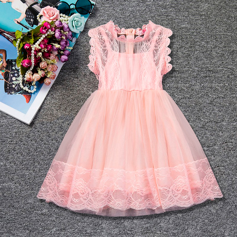 Lace Princess Girls Summer Dress Toddler Baby Kids Clothes For Girl Tutu Birthday Outfits Casual Wear Children School Party Wear mottelee girls princess dress blue kids party tutu dresses birthday summer baby outfits floral toddler frock children clothing