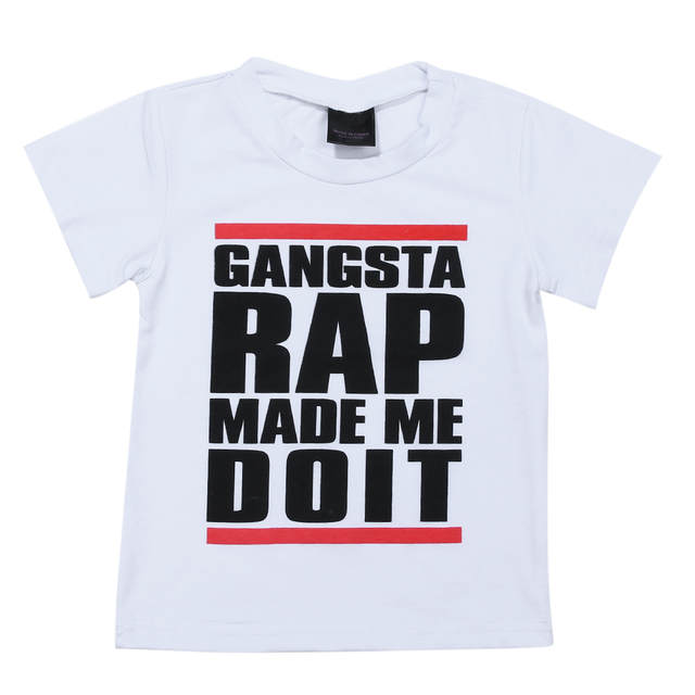 Gangsta Rap Stijl Kids Jongens Kleding Kids Hop Ontwerp Cool Gedrukt T Shirt Kleding Letters Print Tops Outfits Voor 1 6 Jaar