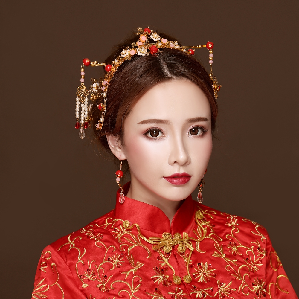 Hair-Jewelry-Set Wedding Costume-Performance Pearl Bride Chinese-Style Gold-Color Headdress