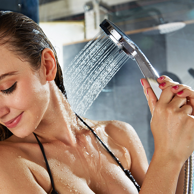 Bathroom high quality ABS plastic chrome 3 models Handheld shower head 3 function Round shower sprayer