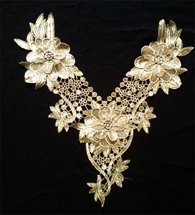 Guld broderi kant krage halsband Set Applique Trims Garment Tillbehör