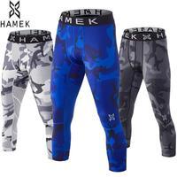 Hombres 3/4 Deporte Compresión Piel Medias de Colores Gym Mallas Running Pantalones Apretados de Las Polainas de la Aptitud de la Yoga de Entrenamiento de Baloncesto