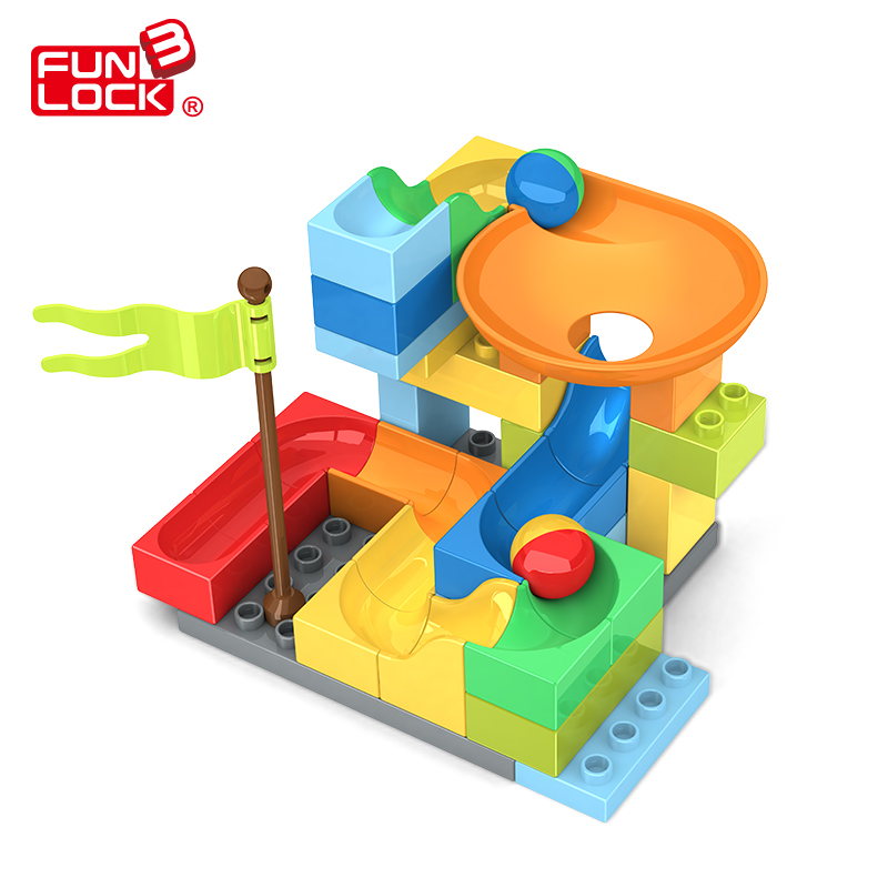 Funlock Duplo Marble Run Assemble Plastic Slide Blocks Set for Kids Creative Educational Building Toys for Children палантин venera venera ve003gwaduy7