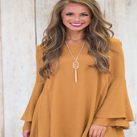 Autumn Fashion Women Solid Color Dress With Large Swing Speaker Yellow Long Sleeve V Neck Dress Open Back Woman'S Clothing