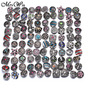 10pcs/lot Wholsale 18mm Snap Jewelry Mixed Round Metal Rhinestone Snap Buttons Fit Snap Bracelet Bangles Necklaces