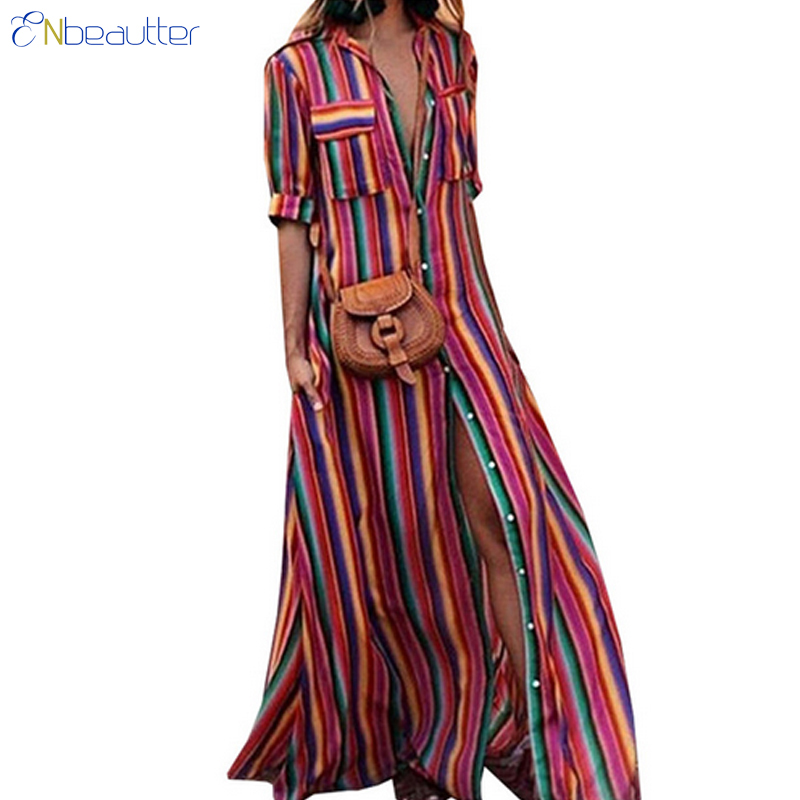 f9ae0262d7965 Buy striped maxi shirt dress long and get free shipping on ...