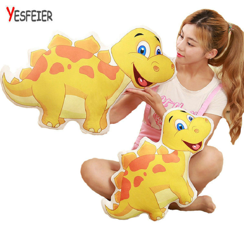 Yesfeier Kawaii Lovely Creative Baby Kids Toy Cute Children Gift Colorful Dinosaur Plush Pillow Staffed Cartoon Animal Doll