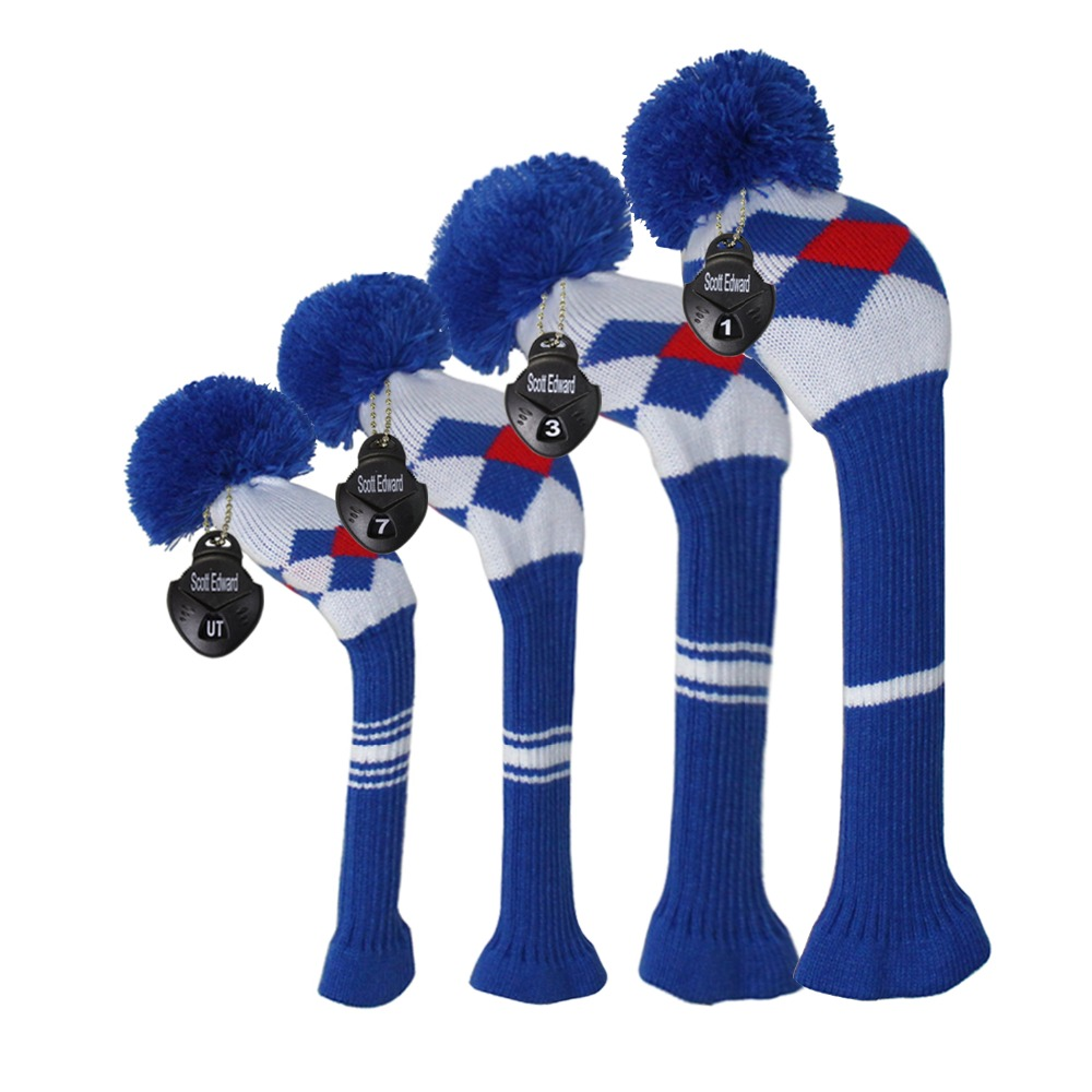 Knitted Golf Head Cover Lattice Style, Set Of 4 For Driver Wood, Fairway, Hybrid, Rotating Number Tags,Pom Pom Sock Covers