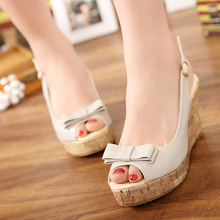5d92fdb56190b 2018 Summer New Wedge With High Heel Bow Sandals Small Size Fish Mouth  Shoes(China · 2 Colors Available