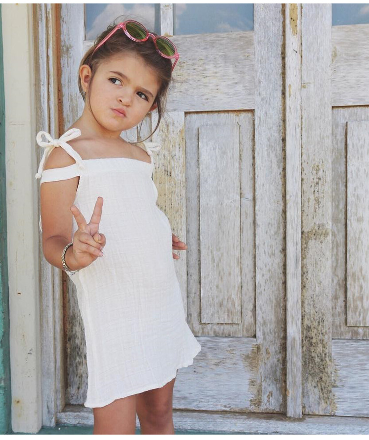 White color Fashion Summer Children Gilrs Dress Princess Sleeveless Strap Dresses Kids Clothes Infant Girls Baby Dress