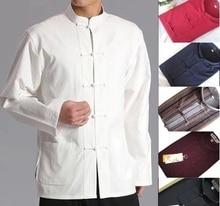 Men Chinese Traditional Tang Suit Jacket Wu Shu Tai Chi Clothing Shaolin Kung Fu Wing Chun Shirt Long Sleeves  Exercises Costume