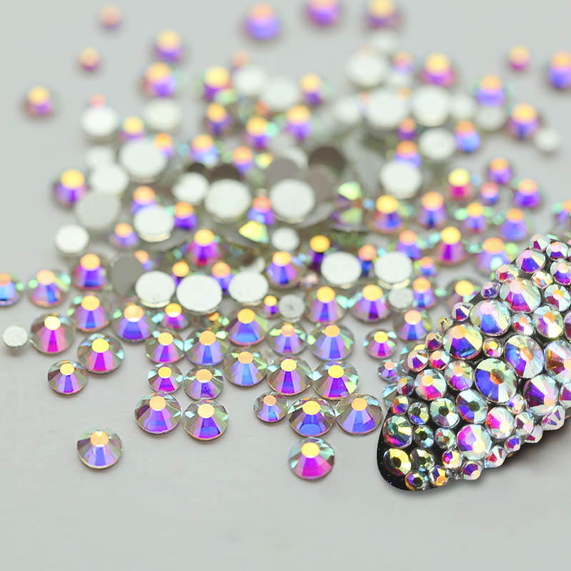 Super Glitter Crystal AB Rhinestone Flat Back Glass Chameleon Nail Rhinestones For Charms 3D Nails Art Decorations Strass strass glass ab rhinestones non hotfix ss20 4 8 5 0mm for 3d nails art design decorations crystal for nails gel nail accessories