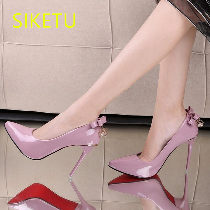 SIKETU 2017 Free shipping Spring and autumn high heels shoes fashion women shoes Wedding shoes The New Bow tie pumps g066 siketu 2017 free shipping spring and autumn women shoes fashion sex high heels shoes red wedding shoes pumps g107