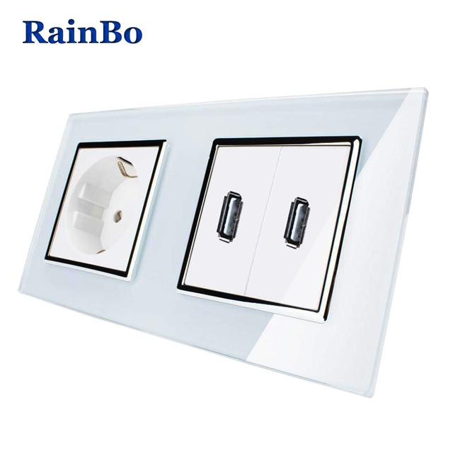 RainBo European Standard Power Socket+USB Socket USB Outlet Glass ...