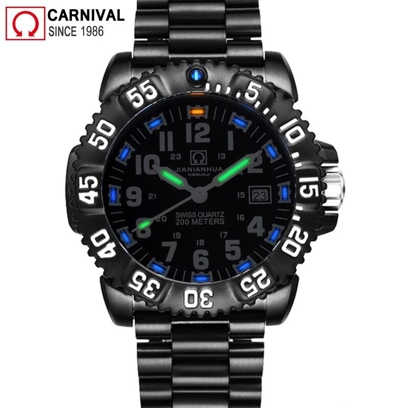 T25 Tritium Lumineux Quartz Montre Hommes Carnaval Sport Diver Militaire Mens Montres Haut Marque De Luxe Horloge 200 M Étanche relogio