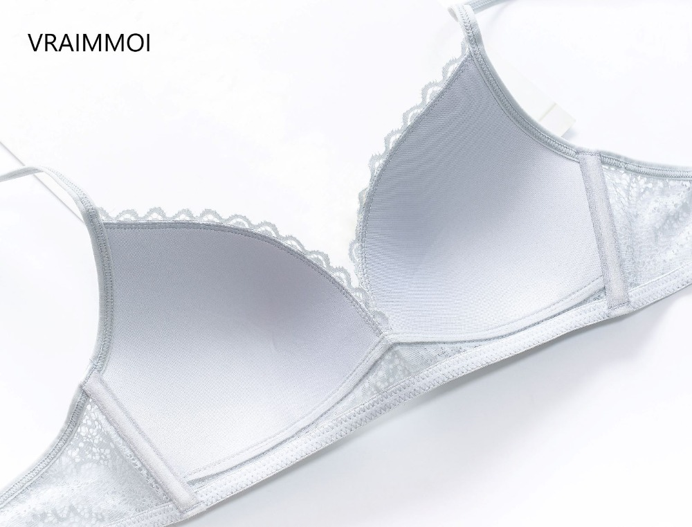VRAIMMOI New Push Up Lace Bra Set Gather Bralette Seamless Brassiere Women WireFree Silk Underwear Sexy Black White Lingerie