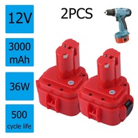 2pcs 12V 3 0AH 3000mAh Rechargeable Ni Mh Battery Power Tool Battery For Makita 1220 1222