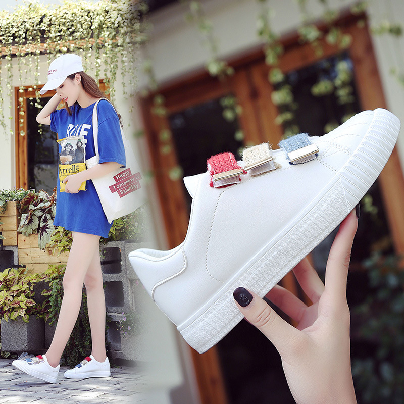 Women Shoes Casual Sneakers White 2019 Spring Summer White Shoes Students Sneakers Leisure Zapatos De Mujer Platform High Super