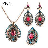 Kinel 3Pcs Vintage Jewelry Sets For Women Antique Gold Pink Crystal Wedding Party Earrings Necklace Ring