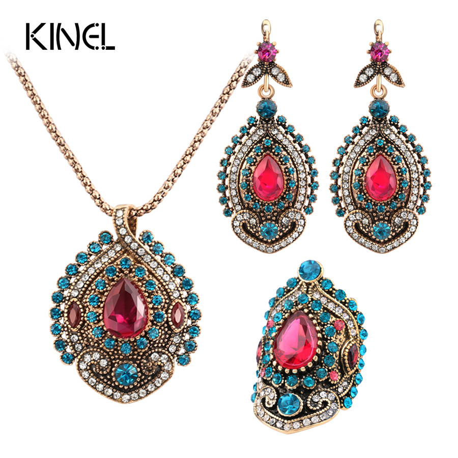 Kinel 3szt Vintage Jewelry Sets dla kobiet Antique Gold Pink Crystal Wedding Party Kolczyki Naszyjnik Ring Female Turkish Jewelry