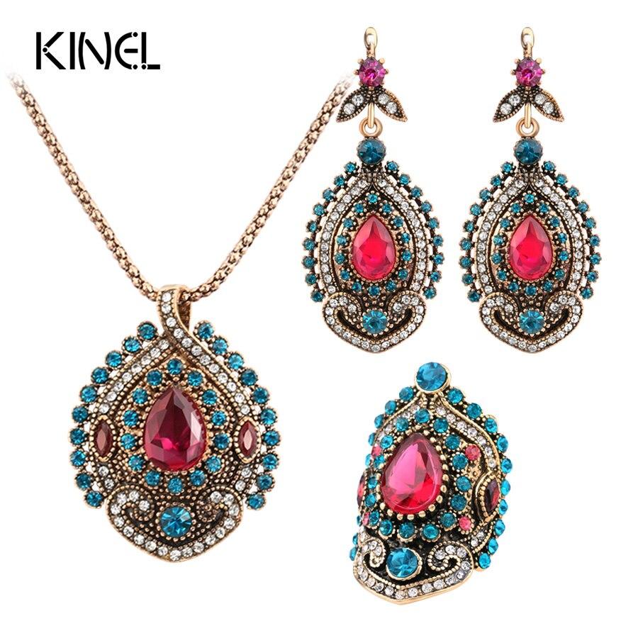 9ba959fab083 Cheap Kinel unids 3 piezas conjuntos de joyería Vintage para mujeres  antiguo oro rosa cristal boda